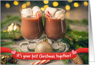 Merry Christmas Couple's First Christmas Hot Chocolate Mugs card