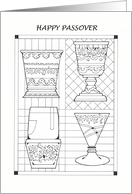Passover Four Cups Coloring Book, Goblets, Wine card