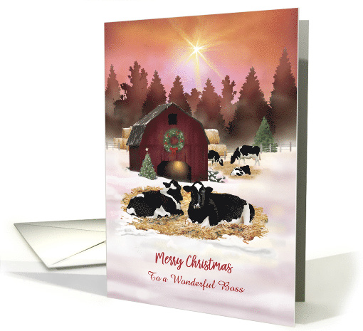 Custom Front Boss Dairy Farm Cows Christmas card (1550934)