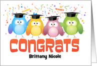 Custom Front Name Owls with Caps Graduation Congratulations card