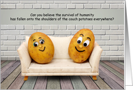 Couch Potatoes COVID-19 Social Distancing Humor card