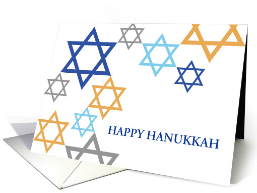 Hanukkah Greetings in Star of David Design Pattern Greeting card