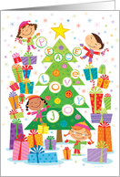 Peace Love and Joy Christmas Tree with Kids and Presents card
