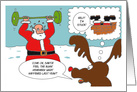 Funny Christmas with Exercise Santa and Reindeer card