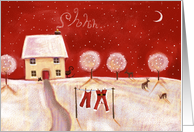 Santa's Resting Christmas House with Red Night Sky card