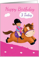 Happy Birthday 3 Today Horse Riding Girl card
