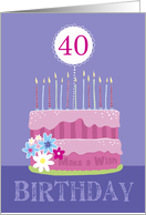 40th Birthday Cake with Candles card