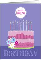 Special Employee Birthday Cake with Candles card