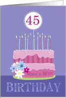 45th Birthday Cake with Candles card