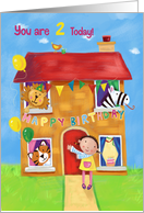 Happy Birthday 2 Today Animal and Girl House card