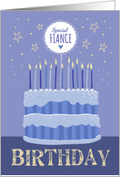Special Fiance Birthday Cake Candles and Stars Distressed Text card