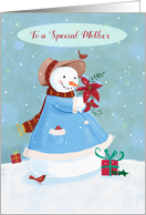 Special Mother Christmas Snowlady holding Poinsettia flowers card