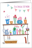 Special Step Mom Happy Birthday Flower Plant Pots card