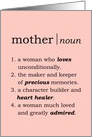 Happy Mother's Day Dictionary Definition Card with Rose Colored Background card