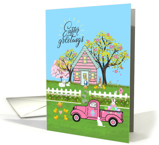 Easter Greeting Cottage Scene with Vintage Pink Truck and Rabbits card