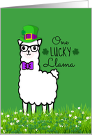 Happy St Patrick's Day One Lucky Hipster Llama with Hat and Bow Tie card
