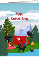 Happy Labour Day Canada Camping Tent Mountains Trees Animals card