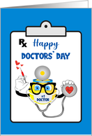 Doctors' Day Recognition Card Smiley Face Doctor Prescription card