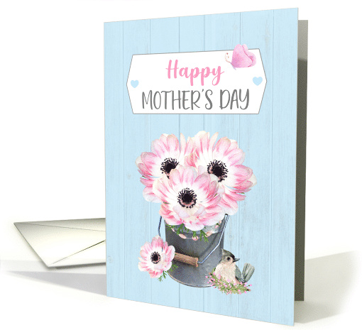 Happy Mother's Day Farmhouse Bucket of Pink Flowers Bird... (1675384)