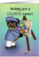 Boy Painting Colored Eggs on a Canvas, Young boy card