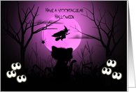 Halloween for a Young Child Spooky, Silhouette Cat, Flying Witch, Moon card
