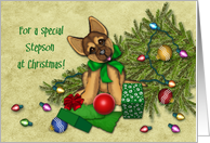 Christmas for Stepson, Naughty Shepherd Puppy Knocked Down the Tree card