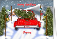 Christmas, Stepson, Red Truck with Puppies, Kittens, ChristmasTree card