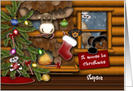 It Moose Be Christmas, Stepson, Log Cabin Scene with Animals card