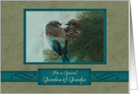 Christmas, For Grandma and Grandpa, Birds in Tree Branch Art card