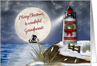 Merry Christmas, Grandparents, Lighthouse, Moon Reflecting on Water card