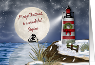 Merry Christmas, Stepson, Lighthouse, Moon Reflecting on the Water card