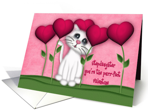 Valentine for a Stepdaughter, Kitten Surrounded by Heart Flowers card
