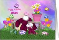 Happy 1st Easter. Customize with Any Name, Bunny, Flowers Butterflies card