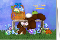 Happy 1st Easter, Customize Name Adorable Bunny, Eggs, Frog Turtle card
