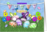 1st Easter for Custom Name, Bunnies Gingham Eggs, Jelly Bean Flowers card