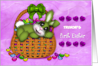 1st Easter Customize With any Name,Bunny Basket Full of Jelly Beans card