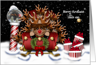 Christmas for Your Little One Nine Reindeer in Sleigh North Pole card