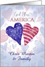 Love Nation Fourth of July God Bless America Custom Front Name card