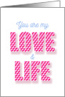 You are My Love and Life Hearten Pattern card