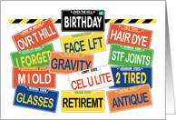 Over the Hill Birthday Plates Old Age Humor Contemporary Greeting card