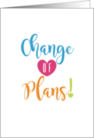 Change of Plans Event Cancellation Blank card