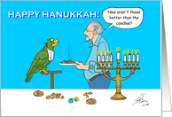 Oscar and Rex with a Plate of Latkas and a Lit Menorah Some Gelt card