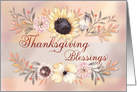 Thanksgiving Blessings Sunflower with Watercolor Branches card