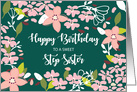 Step Sister Birthday Green Flowers card