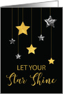 New Year Star Shine Gold and Silver Looking Stars on Black card
