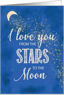 Love From Stars to Moon Night Sky with Glitter Look card