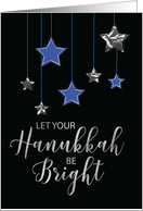 Hanukkah Blue and Silver Shining Stars on Black card