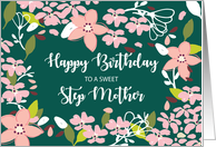 Step Mother Birthday Green Flowers card