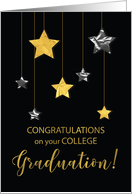 College Graduation Congratulations Gold & Silver Looking Stars card