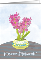 Nowruz Persian New Year with Pink and Purple Hyacinths card